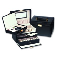 <strong>Budd Leather</strong> Ladies Classic Jewelry Box with Removable Attachment in Black