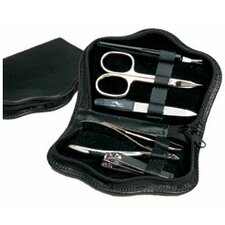 Leather Unisex Solingen Scalloped 6 Piece Manicure Set