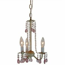 <strong>TransGlobe Lighting</strong> Crystal Flair 3 Light Mini Chandelier with Mix Beads Crystal Droplets