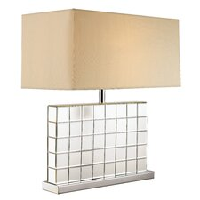 "Tiled Mirror 26"" Table Lamp with Rectangular Shade"