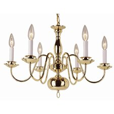 <strong>TransGlobe Lighting</strong> Back To Basics 6 Light Williamsburg Chandelier