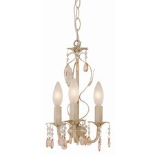 <strong>TransGlobe Lighting</strong> Crystal Flair 3 Light Mini Chandelier with Crystal Droplets