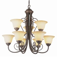 "New Century 27"" Nine Light  Chandelier in Antique Bronze"