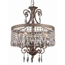 5 Light Chandelier with Crystal