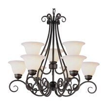 <strong>TransGlobe Lighting</strong> 9 Light Chandelier with Marbleized Shade