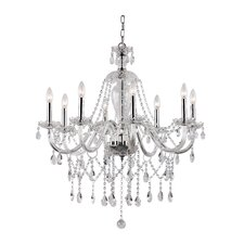 <strong>TransGlobe Lighting</strong> Crystal Fountain 8 Light Chandelier