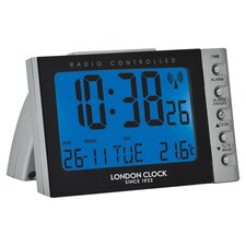 Digital Alarm Clock in Black and Silver