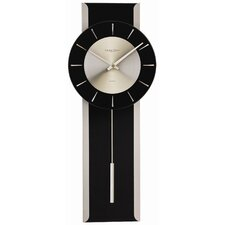 Glass and Metal Finish Pendulum Wall Clock in Black