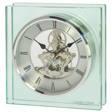 Square Glass Skeleton Mantel Clock