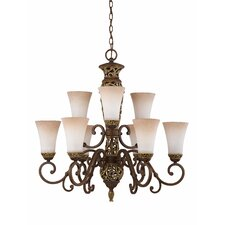 <strong>Triarch Lighting</strong> Filigree 9 Light Chandelier