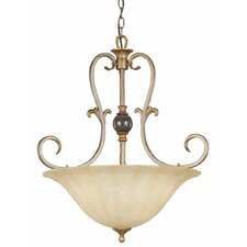 Fleur De Lis 3 Light Inverted Pendant