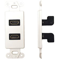 Electronics Decor Wall Plate Insert with 90° Dual HDMI Connector