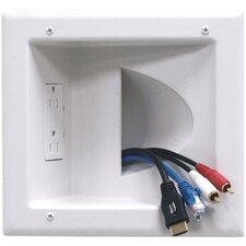 Electronics Recessed Low Voltage Media Plate with Duplex Receptacle