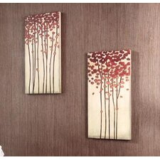 "12"" x 24"" Wood Crafted Tree Wall Art (Set of 2)"