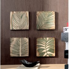 "12"" x 12"" Wood Palm Leaf Wall Art (Set of 4)"