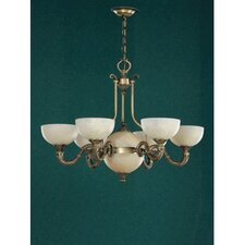 Santos Seven Light Traditional Chandelier in Dark English Bronze