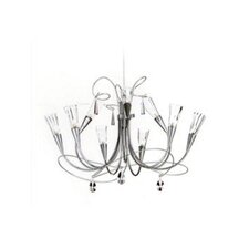 Flute Nine Light Chandelier in Aluminum