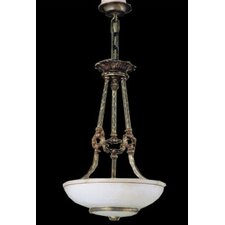 Monticello Three Light Traditional Pendant in Aged Bronze