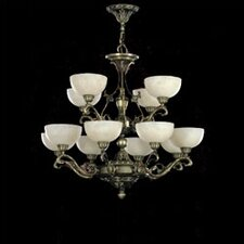 <strong>Zaneen Lighting</strong> Arana Twelve Light Traditional Chandelier in Dark English Bronze