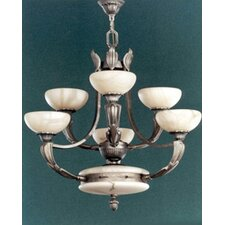 <strong>Zaneen Lighting</strong> Osma Six Light Chandelier in Satin Leather
