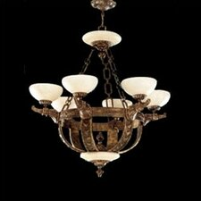 Melilla Six Light Chandelier in Rustic Bronze