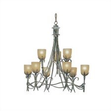 <strong>Zaneen Lighting</strong> Latina Nine Light Chandelier in Vintage Bronze