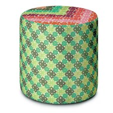 Onley Patchwork Cylindrical Pouf Ottoman