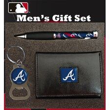 MLB PU Tri-fold Wallet Pen and Keychain Gift Set