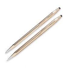 Ballpoint Pen and 0.5mm Pencil Set, Refillable, Gold Barrel