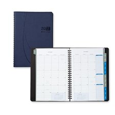 "Monthly Planner,Journal,2PPM,6-1/8""x8-/4""x5/8"",Blue, 2014"