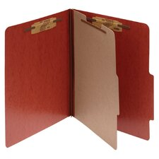 Presstex 20-Point Classification Folders, Letter, 4-Section, Red, 10/Box
