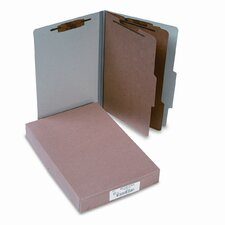 Pressboard 25-Point Classification Folders, Lgl, 6-Section, Mist GY, 10/box