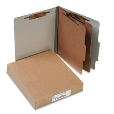 Pressboard 25-Point Classification Folders, Ltr, 6-Section, Mist Gray, 10/box