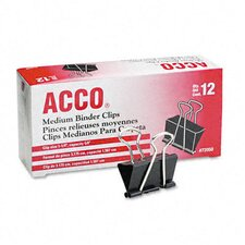 "<strong>Acco Brands, Inc.</strong> Medium Binder Clips, Steel Wire, 5/8"" Capacity, 12/Pack"