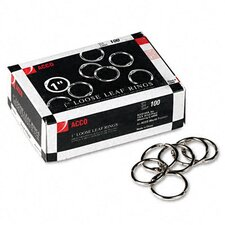 "<strong>Acco Brands, Inc.</strong> Metal Book Rings, 1"" Diameter, 100 Rings/Box"
