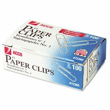 Smooth Finish Premium Paper Clips, Wire, No. 1, Silver, 100/Box, 10 Bxs/Pk