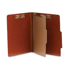 Presstex 20-Point Classification Folders, Letter, 4-Section, 10/Box, Red