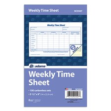 2 Part Carbonless Weekly Time Sheet (Set of 800)
