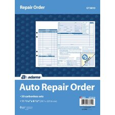 3 Part Carbonless Garage Repair Order Form (Set of 250)