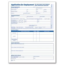 4 Page Application For Employment Form (Set of 625)