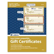 Three Up Laser Gift Certificate (Set of 360)