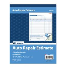 2 Part Carbon Auto Repair Estimate Book (Set of 6)