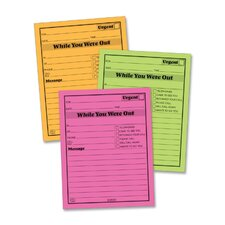 "Message Pad, ""While You Where Out"", 4""x5"", 6 per Pack, Neon Assorted"