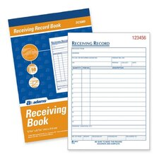 "Receiving Record Book, Carbonless, 2-Part, 5-9/16""x8-7/16"", White"