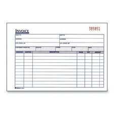 "Invoice Book, 2-Part, Carbonless, 8-7/16""x5-9/16"", 50/Black"