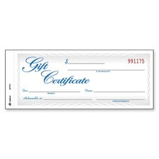 "Gift Certificates, 2-Part, Carbonless, 8-1/2""x3-4/10"", 25 per Pack"