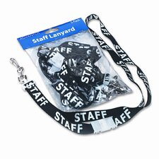 "Preprinted Quick Id Lanyards, J-Hook Style, 36"" Long, Staff, 5/Pack"
