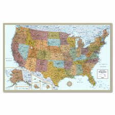 M-Series Full-Color Laminated United States Wall Map, 50 x 32