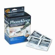 Read Right Phonekleen Wet Wipes, Cloth, 5 X 5, 72/Box