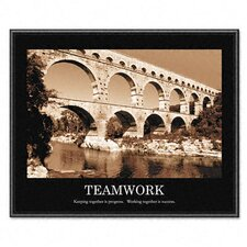"""Teamwork"" Framed Sepia-Tone Motivational Print, 30w x 24h"